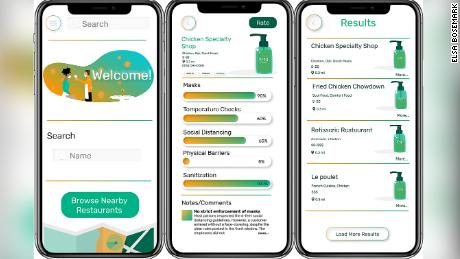 Safe Bites allows responders to rate a restaurant on masks, temperature checks, social distancing, sanitization and physical barriers.