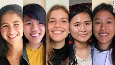 (From left) Anuhea Toa, Athena Jiang-Qin, Elsa Bosemark, Luna Jiang-Qin and Selene Jiang-Qin of the all-girl coding team AlGIRLithm.