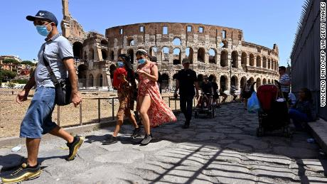 Tourists at the Colosseum in Rome on August 22, when Italian authorities said about 50% of new infections had been contracted during summer vacations.