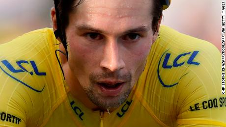 Slovenia's Primoz Roglic was left stunned after losing the yellow jersey on the penultimate stage to his compatriot Tadej Pogacar.