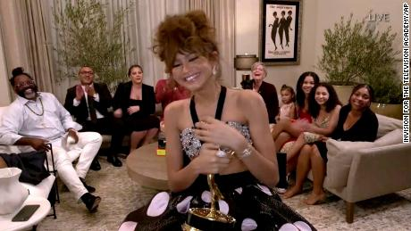 """Zendaya accepts the Emmy for Outstanding Lead Actress in a Drama Series for """"Euphoria"""" during the 72nd Emmy Awards telecast on Sunday."""