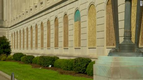 The Gene Snyder US Courthouse and Customhouse is seen with boarded up windows.
