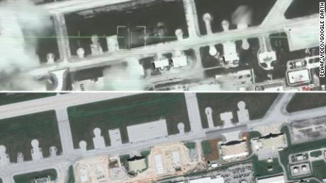 Top is a still captured from the Chinese air force video and bottom a shot from Google Earth of Andersen Air Force Base on Guam.