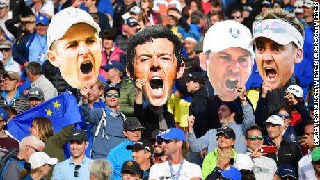 Fans pack the grandstand at Le Golf National in Paris to witness Team Europe's victory in 2018.