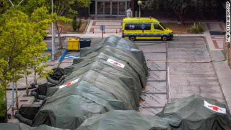 Military tents were erected for patients at Gomez Ulla Military Hospital in Madrid, Spain on Friday.