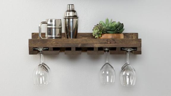 Bernon Solid Wood Wall-Mounted Wine Glass Rack