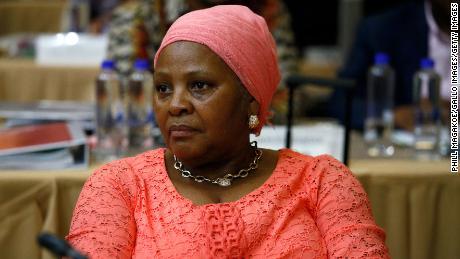 Nosiviwe Mapisa-Nqakula looks on during a cabinet meeting January 29, 2020, in Pretoria, South Africa.