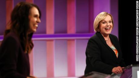 National leader Judith Collins (R) and Prime Minister Jacinda Ardern (L) during the first leaders' debate on September 22 in Auckland, New Zealand.