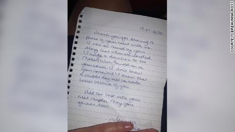 Passengers on Ross' flight wished her good luck, gave her money and another woman passed her a handwritten note.