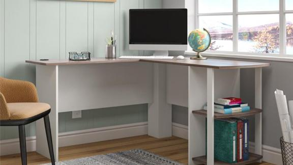 Ameriwood Home Dominic L Desk With Bookshelves
