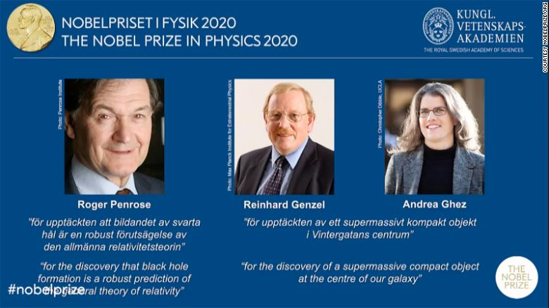 This year's Nobel Prize in Physics was awarded to Roger Penrose, Reinhard Genzel and Andrea Ghez.