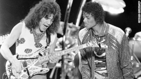 "This 1984 photo shows Van Halen  performing ""Beat It"" with Michael Jackson"