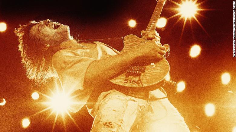 Eddie Van Halen plays guitar in 1993.
