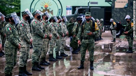 Members of the Mexican Army prepare to move towards the municipalities of Valladolid and Tizimin, in Merida, Yucatan state, in preparation for the arrival of Hurricane Delta.
