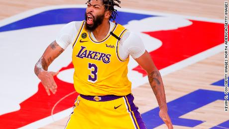 Anthony Davis was fired up after making a three-point shot that put the Lakers up 100-91 with 40 seconds remaining.