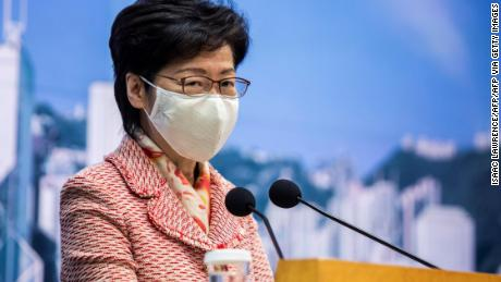 Hong Kong's Chief Executive Carrie Lam speaks to the media at her weekly press conference in Hong Kong on October 6, 2020.