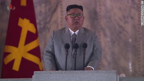 Kim Jong Un addresses the nation during the military parade.