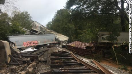 A CSX train derailed in Gwinnett County, Georgia, early Sunday morning following heavy rains from the remnants of Hurricane Delta.