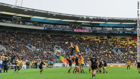 แฟน ๆ รับชมขณะที่ Ardie Savea และ Lukhan Salakaia-Loto แข่งขันกันเพื่อเป็นผู้เล่นตัวจริงในระหว่างการแข่งขัน Bledisloe Cup ระหว่าง New Zealand All Blacks และ Australia