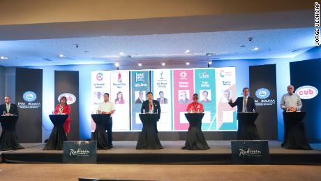 Bolivian presidential candidates pictured during a debate. From left to right: Luis Fernando Camacho, Maria Baya, Luis Arce, Chi Hyun Chung, Feliciano Mamani, Jorge Tuto Quiroga of and Carlos Mesa.