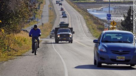 A line of traffic leaves  Homer, Alaska, after a tsunami evacuation order was issued for low-lying areas.