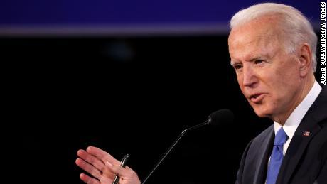 Democratic presidential nominee Joe Biden participates in the final presidential debate against U.S. President Donald Trump at Belmont University on October 22, 2020 in Nashville, Tennessee.
