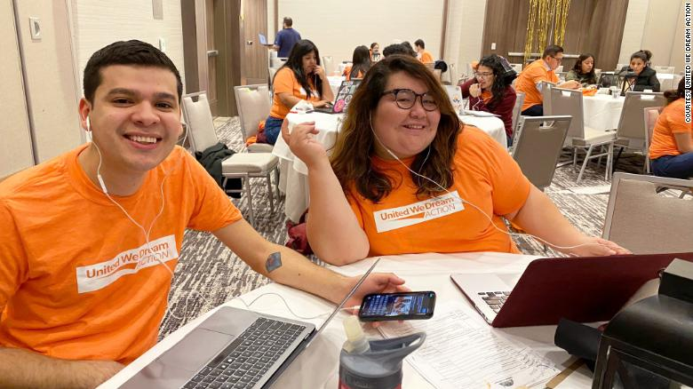 Staff and volunteers from United We Dream Action, including national communications manager José Muñoz and executive director Greisa Martinez Rosas, gathered in Houston during the primaries in February for a training and phone banking session.