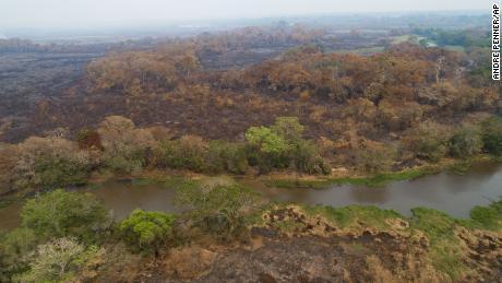 พื้นที่ที่เพิ่งถูกเผาของสวน Encontro das Aguas ในพื้นที่ชุ่มน้ำ Pantanal ภาพเมื่อวันที่ 12 กันยายน 2020