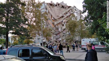 A damaged building after the earthquake struck on Friday in the coastal province of Izmir, Turkey.