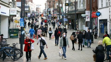 People shopping in Derby, in England's East Midlands, on Wednesday ahead of a national lockdown from Thursday.