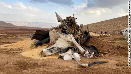 ซากของหมู่บ้านใน Khirbet Humsa ทางฝั่งตะวันตกเมื่อวันที่ 4 พฤศจิกายน
