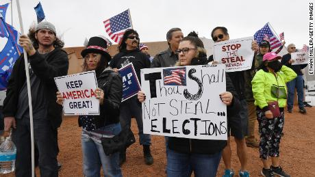 Supporters of President Donald Trump protest outside the Clark County Election Department on Saturday in Las Vegas, Nevada.