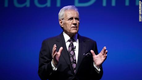 """Jeopardy!"" moderator Alex Trebek is seen speaking in Hershey, Pennsylvania, on October 1, 2018."