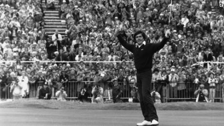 Ballesteros celebrates after winning the British Open at Royal Lytham and St. Anne's in Lancashire, United Kingdom.