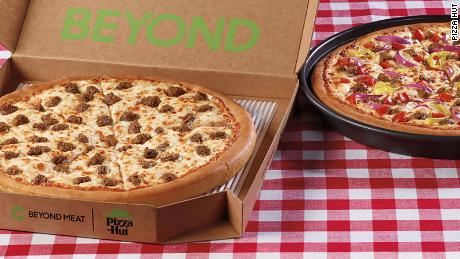 Pizza Hut's Beyond Italian Sausage Pizza and the Great Beyond Pizza.