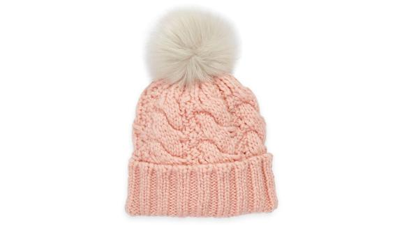 Ugg Cable-Knit Beanie With Faux Fur Pom