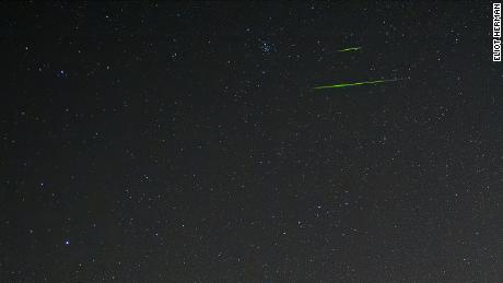Sometimes the Leonid meteors can shoot across the sky in brilliant colors. The color of the meteor depends on the metal in the meteor, and for these green ones, it was likely magnesium, according to NASA.