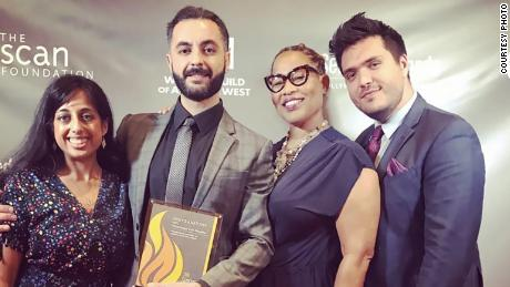 """Dr. Naser Alazari, second from left, and other members of the medical team from """"Grey's Anatomy"""" accept a Sentinel Award for an episode of the series that tackled maternal mortality. Also pictured from left is Dr. Kavita Vakharia, Dr. Zoanne Clack and Dr. Michael Metzner."""