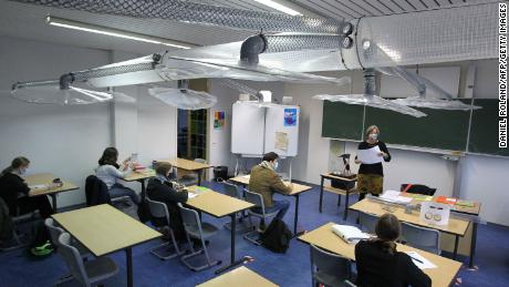 A ventilation system installed in a classroom in Mainz, western Germany, on November 12.