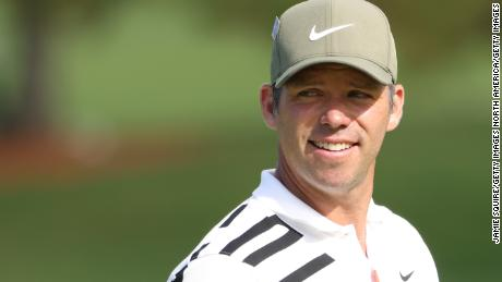 Reason to be cheerful. Paul Casey celebrates his eagle on the second at Augusta during his superb opening round.