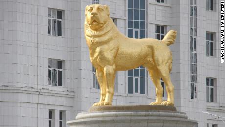 Turkmenistan's authoritarian leader unveils huge golden dog statue in the capital