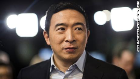 Andrew Yang, founder of Venture for America and a 2020 Democratic presidential candidate, in Manchester, New Hampshire, on February 7, 2020.
