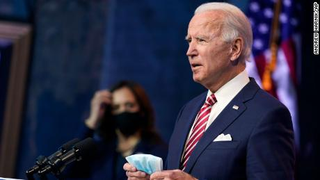 President-Elect Joe Biden, along with Vice President-Elect Kamala Harris, speaks about the economic recovery at The Queen's Theater in Williamson, Delaware, Monday November 16.