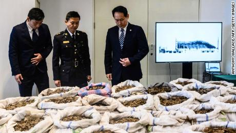 Customs officers look at seized endangered pangolin scales displayed during a press conference at the Kwai Chung Customhouse Cargo Examination Compound in Hong Kong on February 1, 2019.