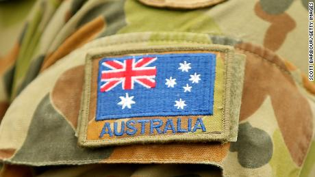 A detail of the flag of Australia on an Australian Army soldier on May 09, 2019, in Seymour, Australia.
