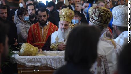 Patriarch Ering pays tribute to Serbian Orthodox Church Bishop Amphiloheji Radovi at his funeral in Podgorica, Montenegro on November 1.