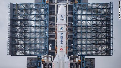 The Long March-5 rocket, with the top of China's new lunar probe Chang, is spotted on the launch pad at the Wenchang Space Launch Center on November 17 in Hainan, China.
