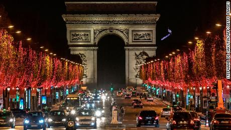 The Champs-Elysees Avenue and the Arc de Triomphe in Paris with Christmas lights on November 22.