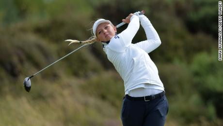 Pedersen plays her tee shot on the second hole during the first day of the Ladies Scottish Open.