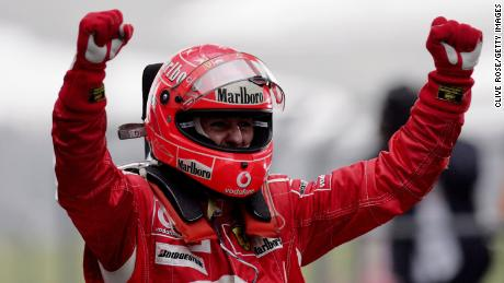 Michael Schumacher celebrates after winning the Chinese Grand Prix in October, 2006 in Shanghai.